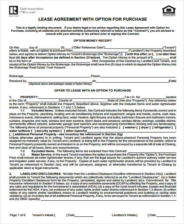 5 Rent-to-Own Home Contract Samples  Templates Sample Templates