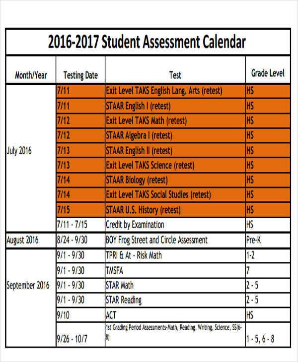 student calendar template - Wwwop-tech