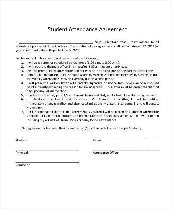 7 Student Contract Samples  Templates Sample Templates