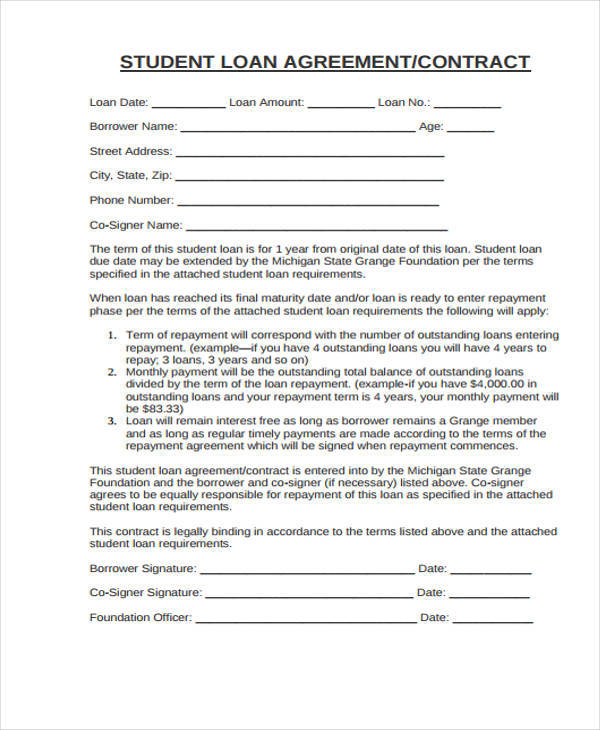 student contracts templates