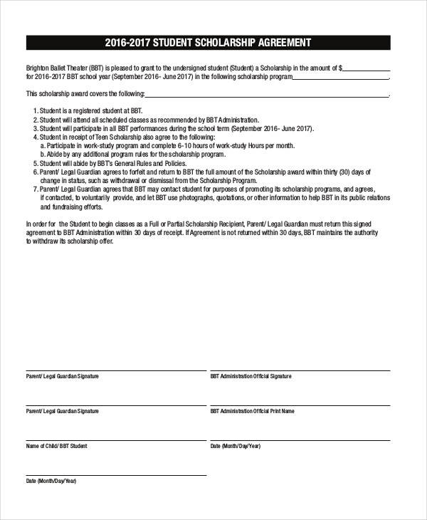8 Scholarship Contract Samples  Templates Sample Templates - Scholarship Contract Template