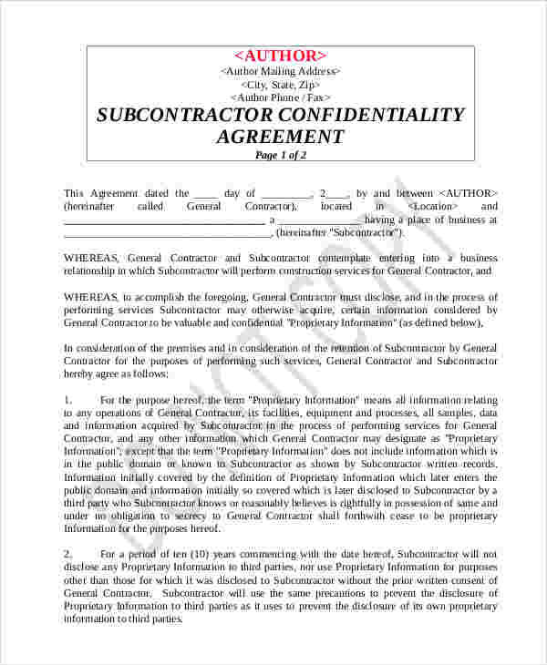 8+ Contractor Confidentiality Agreements - Free Sample, Example - contractor confidentiality agreement