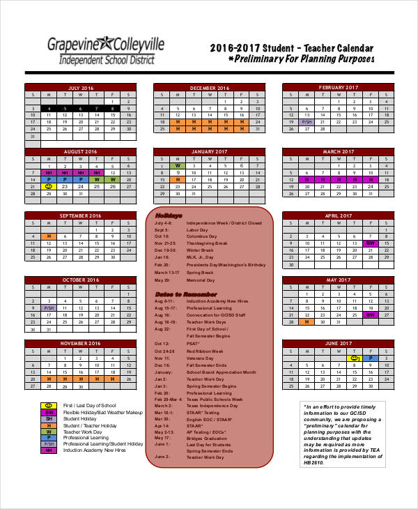 36 Printable Calendar Samples  Templates Sample Templates - teachers planning calendar