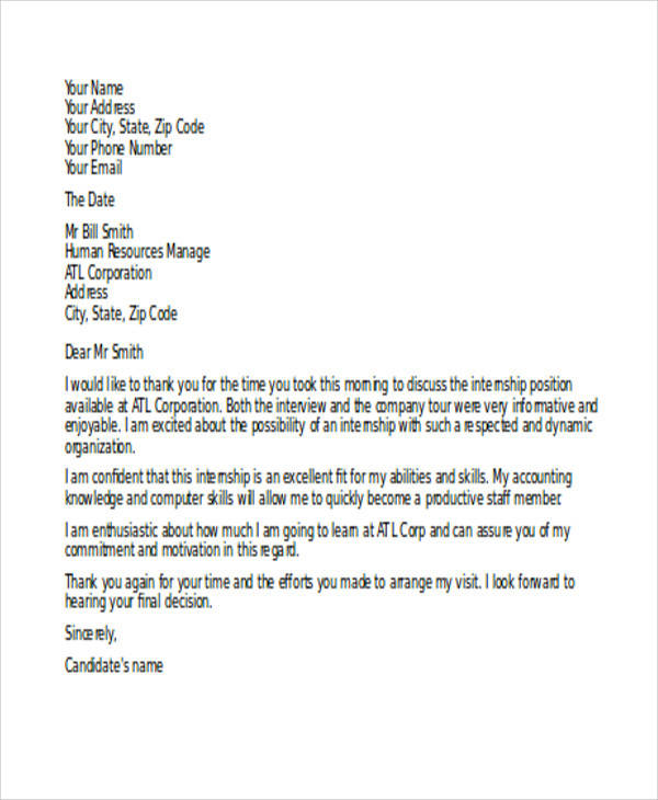example thank you interview letter