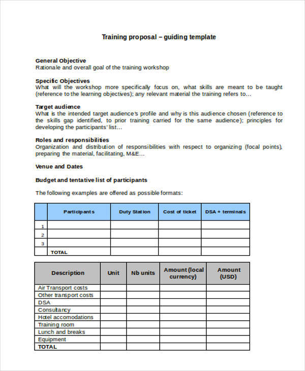 16+ Training Proposal Template \u2013 Examples in Word, PDF Sample - training proposal template