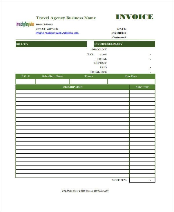 11+ Travel Invoices \u2013 Free Word,PDF, Format Download