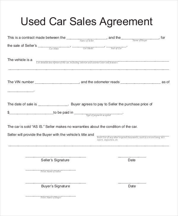 7+ Car Sales Contract Samples  Templates in PDF