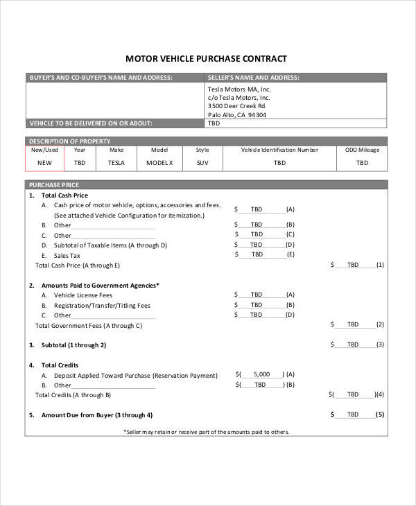 12 Purchase Contract Templates - Free Sample, Example, Format Download - auto purchase agreement template