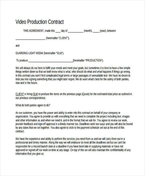 7+ Production Contract Templates - Free Sample, Example, Format - videography contract template