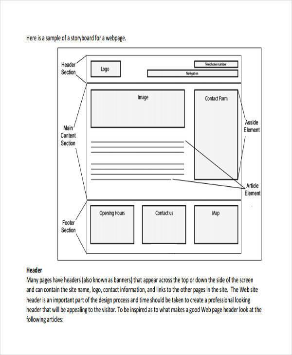 7+ Website Storyboard Samples \u2013 Examples in PDF Sample Templates