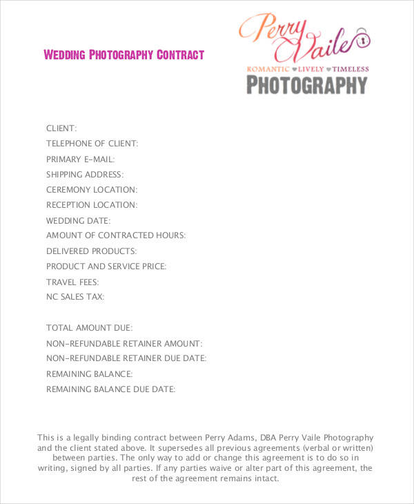 9+ Wedding Contract Samples - PDF, Word, Google Docs