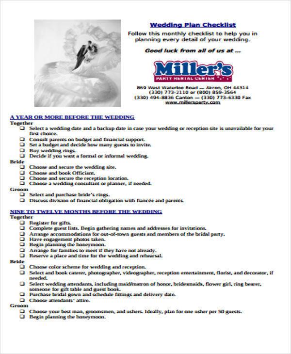 6+ Wedding Plans - Free Sample, Example, Format Download - wedding plan