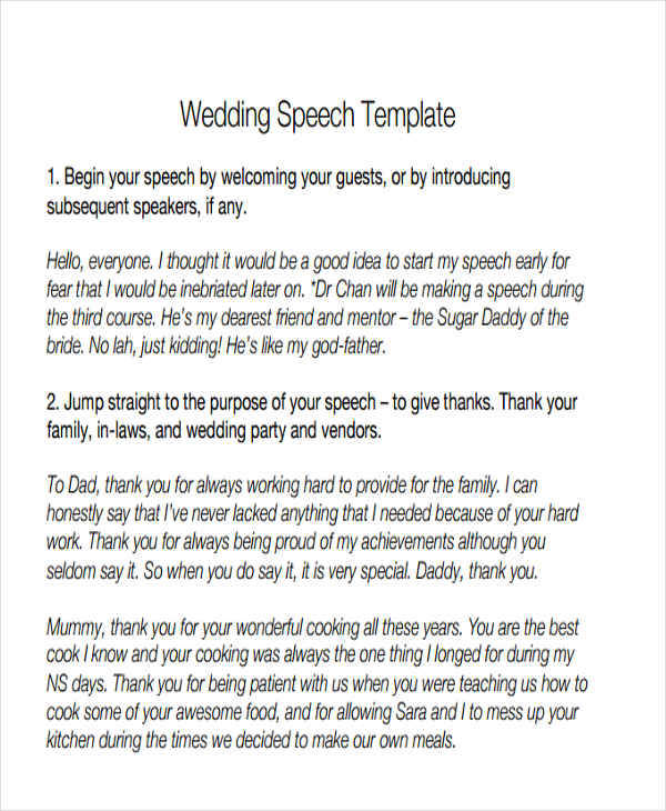 44+ Speech Samples Sample Templates - Wedding Speech Example