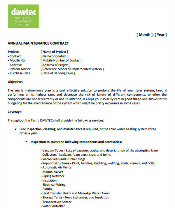 Attractive Electrical Maintenance Contract Template Elaboration