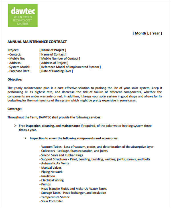 8+ Yearly Contract Templates -Examples in Word, PDF - yearly contract template