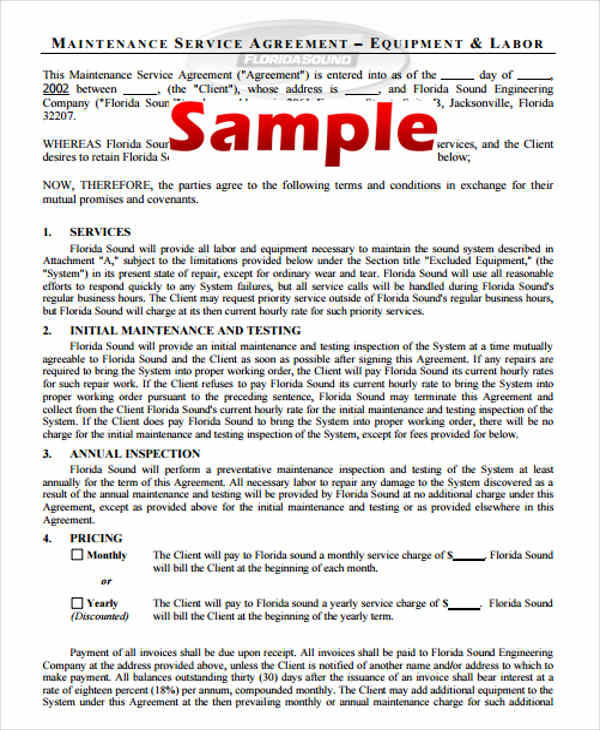 8 Yearly Contract Samples  Templates Sample Templates - Yearly Contract Template