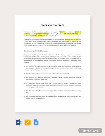 51+ Sample Contract Templates - Pages, Docs, Word