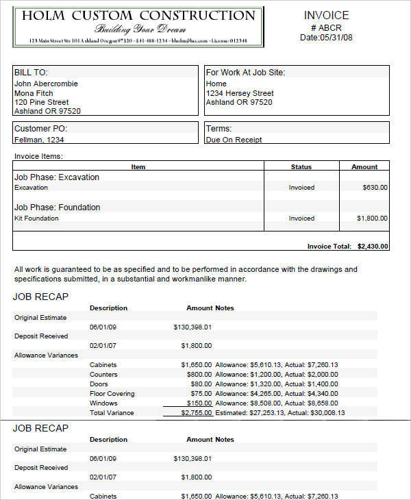 8+ Construction Invoice Template - Free Sample, Example, Format - custom invoice format