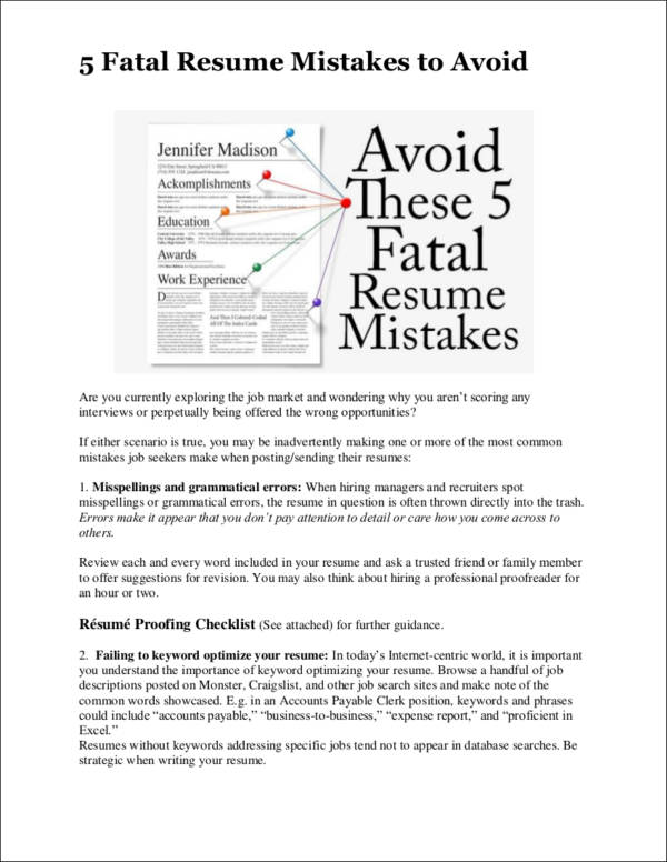10 Common Resume Mistakes Most People Make Sample Templates - avoiding first resume mistakes