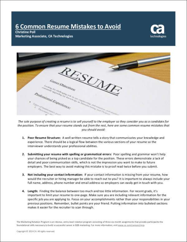 10 Common Resume Mistakes Most People Make Sample Templates
