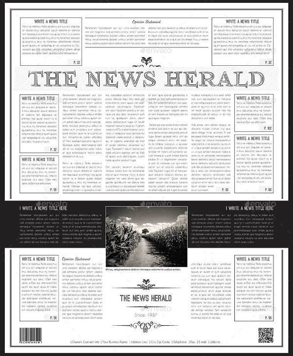 a3 newspaper template word