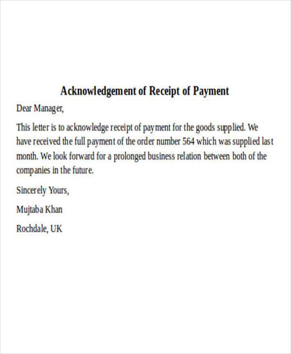 Payment Receipt Letter Templatebillybullockus
