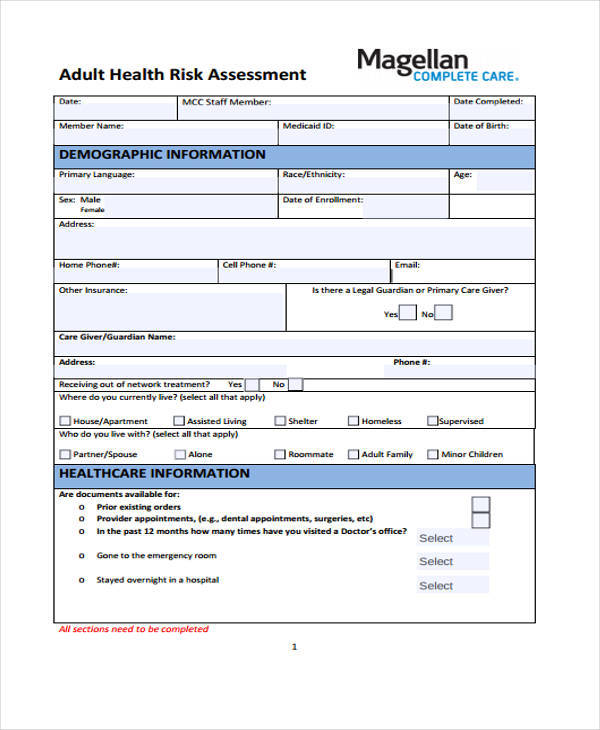 Fancy Health Risk Assessment Template Image Collection - Best Resume