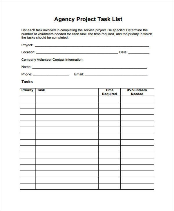 Company Contact List Template cv01billybullockus – Project Contact List Template