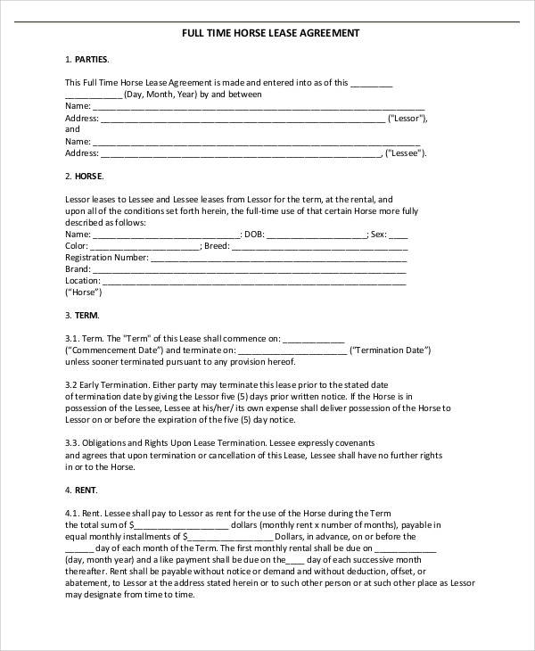 Loan Agreement For Horse Choice Image - Agreement Letter Format - sample horse lease agreement