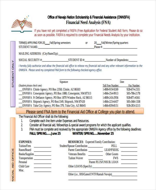 Financial Needs Analysis (FNA)sample needs analysis templates 9 free