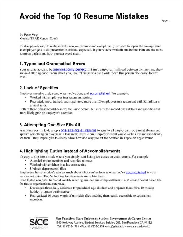 top 10 resume mistakes resume ideas