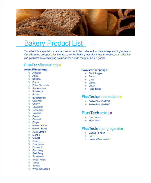 8+ Product List Samples - Free Sample, Example, Format Download - product list samples