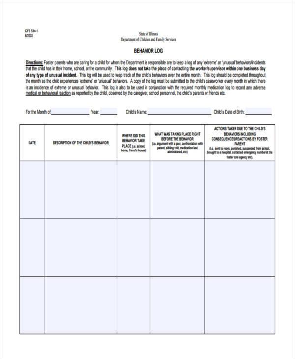 behavior log examples resume-templatepaasprovider - behavior log examples