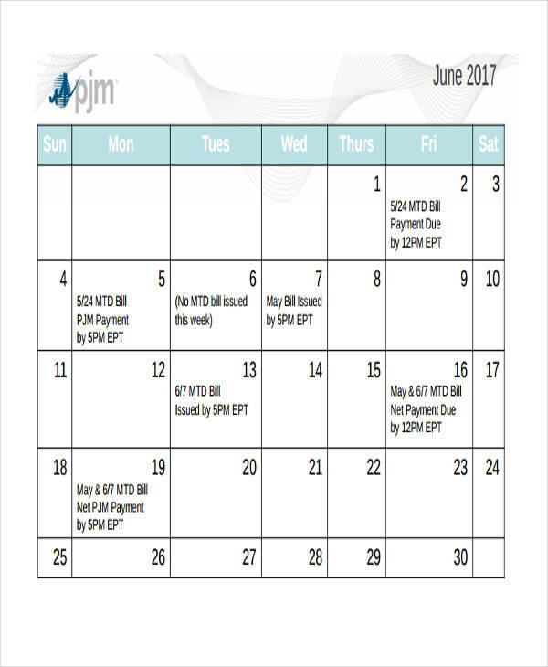 6+ Bill Calendar Templates \u2013 Free Downloadable Samples, Examples - bill calendar