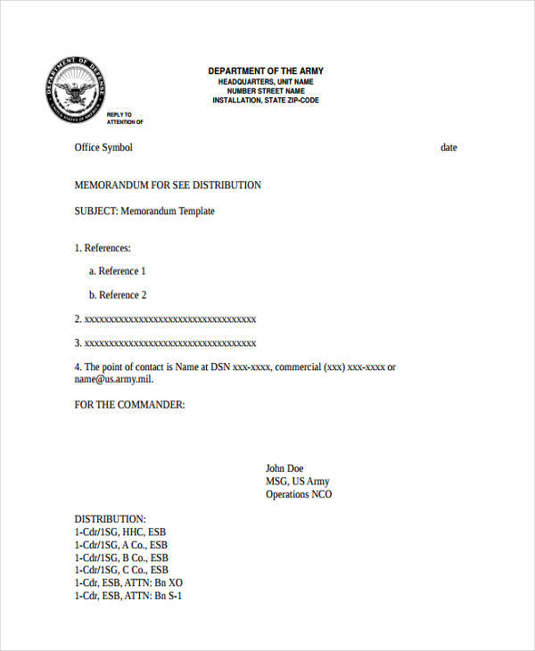 Blank Memo - 8 Examples in Word, PDF - army memo