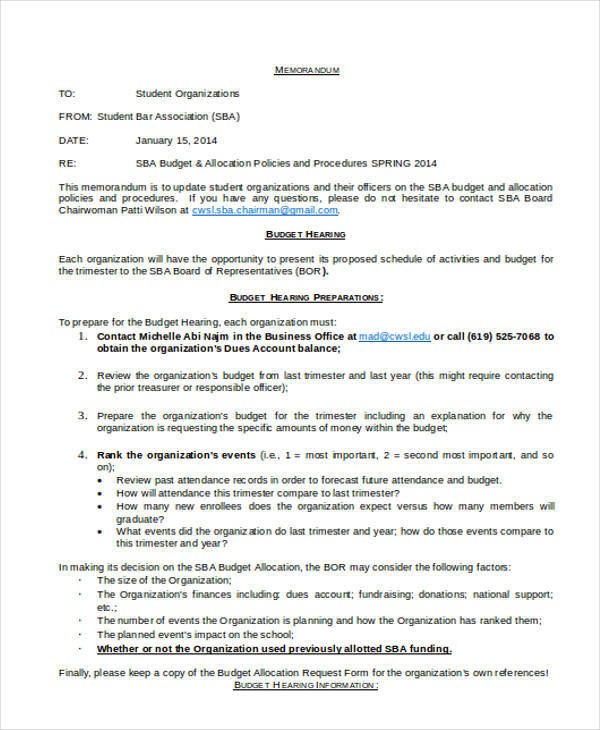 9+ Budget Memo Templates \u2013 Examples in Word, PDF Sample Templates