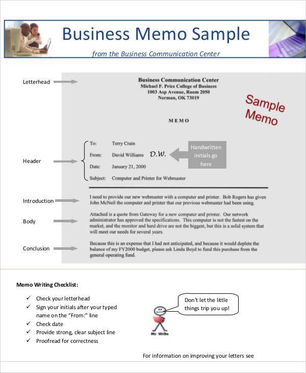 9+ Business Memo Templates \u2013 Free Sample, Example, Format Download - Sample Business Memo