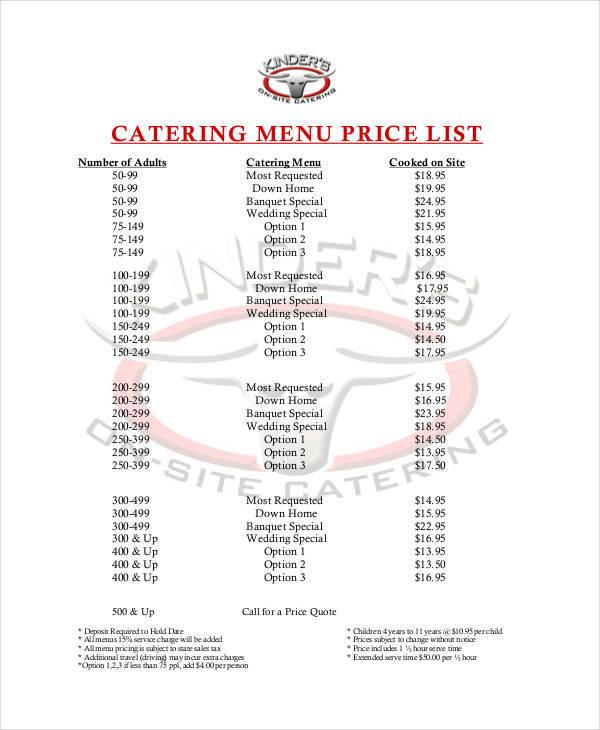 Sample Catering Menu Templates - menu list sample