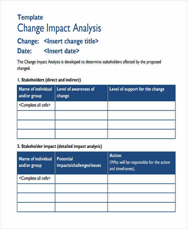 8+ Impact Analysis \u2013 Examples in Word, PDF Sample Templates