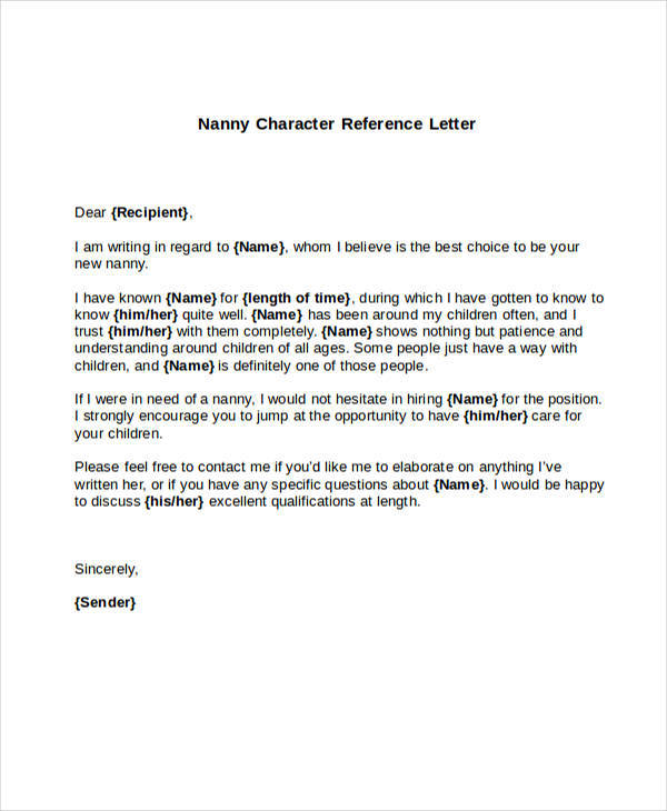 5+ Sample Nanny Reference Letters \u2013 PDF, Word Sample Templates