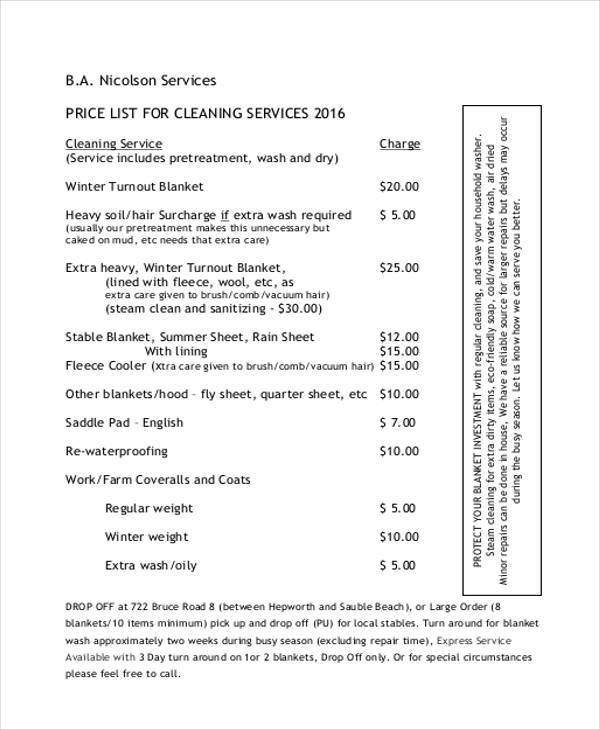 Service List Sample - 8+ Examples in Word, PDF - service list sample