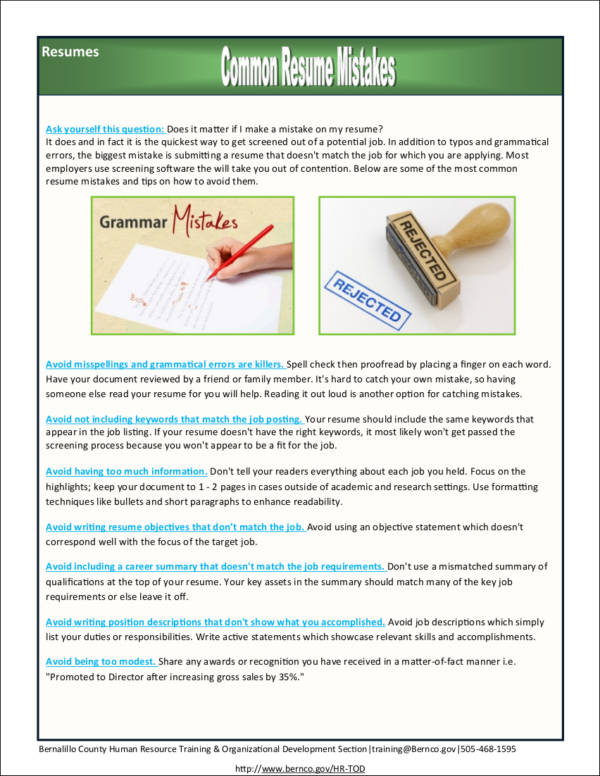 Most Common Resume Mistakes how to avoid common mistakes in writing - avoiding first resume mistakes
