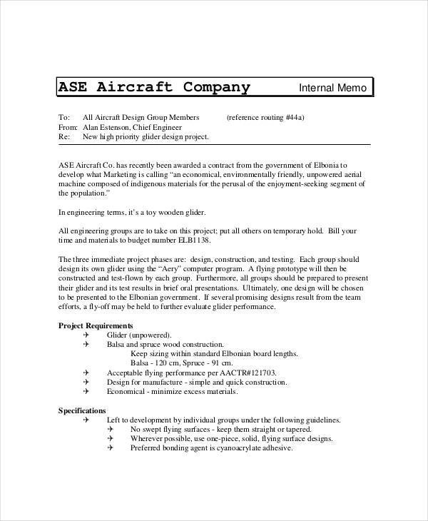 engineering memo example - Towerssconstruction