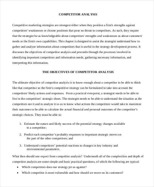 Sample Competitive Analysis  Comparative Analysis Template Smart - competitive analysis format