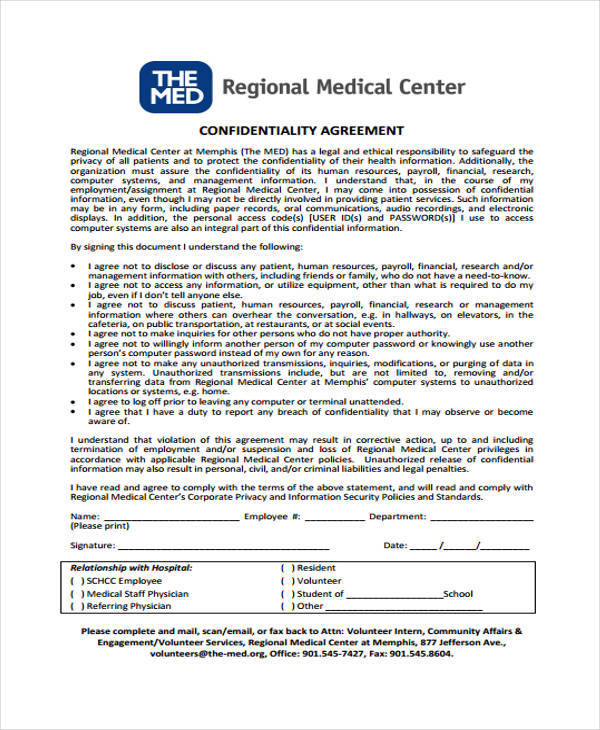 Sample Medical Confidentiality Agreement Confidentiality Agreement