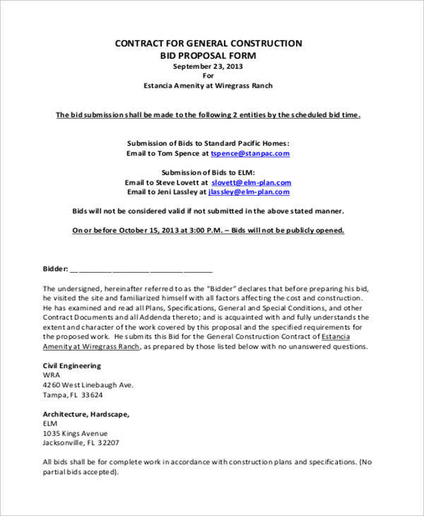 construction proposal form templatexampleunicloudpl - bid proposals