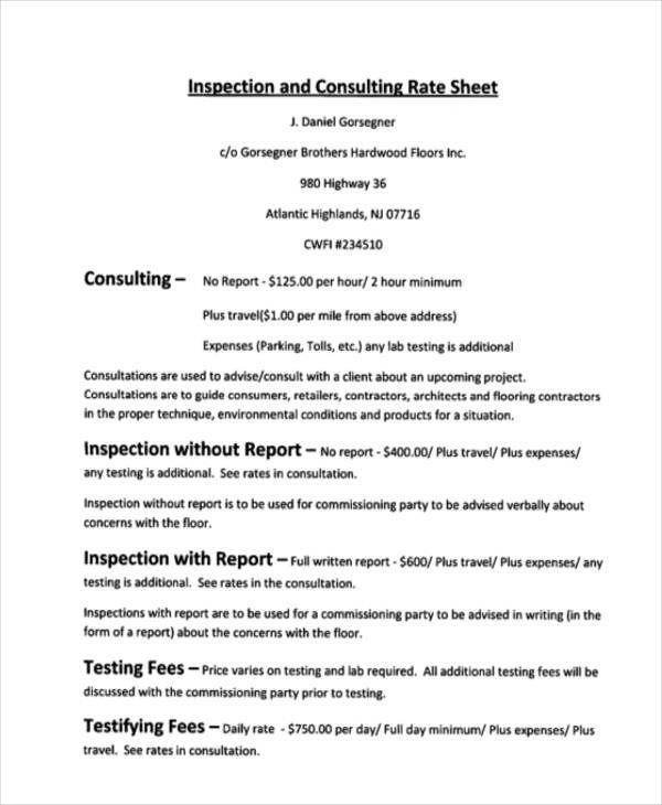 Rate Sheet Template Contractor Rate Sheet Template Rate Sheet