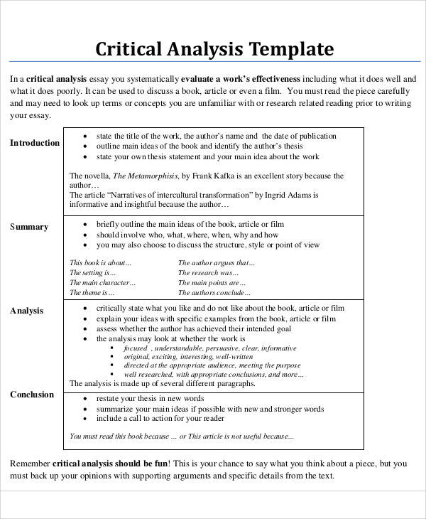 8+ Critical Analysis \u2013 Free Downloadable Samples, Examples, and - critical analysis