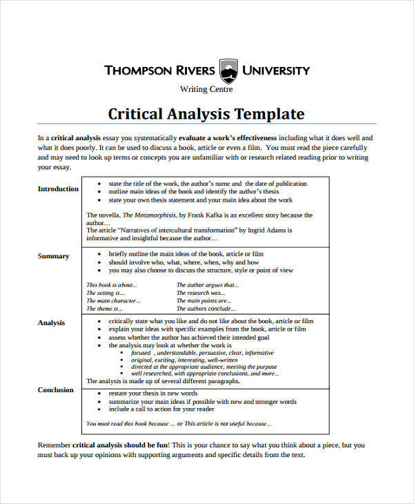 7+ Critical Analysis \u2013 Examples in Word, PDF Sample Templates - critical analysis