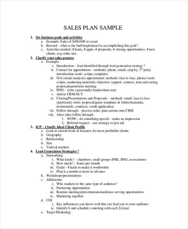 37+ Sample Sales Plan - sales plan sample